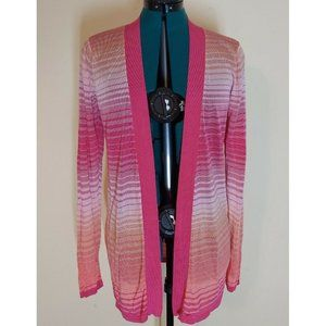 Magaschoni Multi Color Striped Open Front cardigan